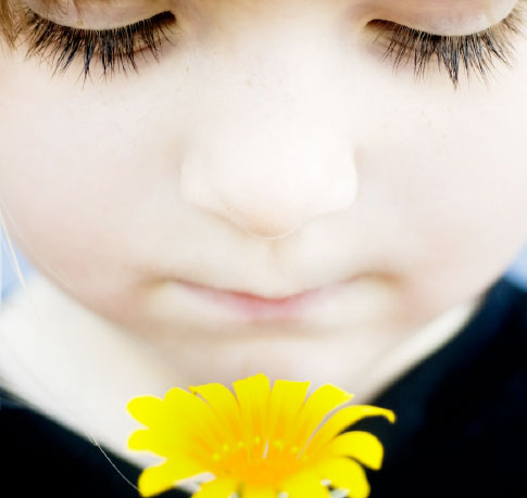 Photo of small child looking at yellow flower - part of FtSE's branding