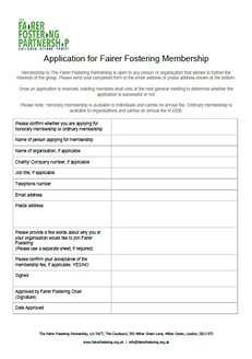 Application Form | Fairer Fostering - The Fairer Fostering Partnership